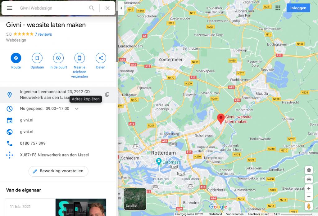 Google maps - Givni Webdesign